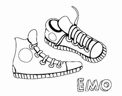 Sneakers Coloring Sneaker Pages Coloringcrew Emo