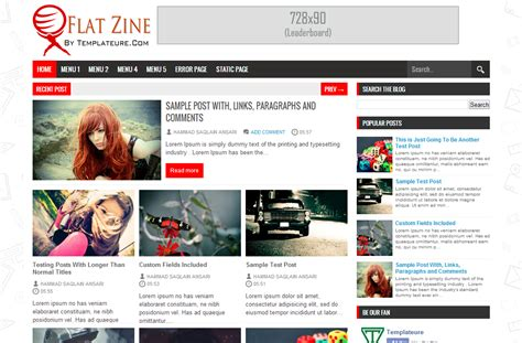 Templates Entertainment Blog by Flat Zine Template Free Download
