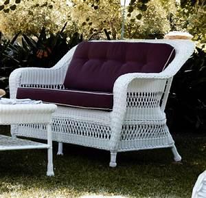 Canapé de jardin 2 places en résine tressée blanc Brin d