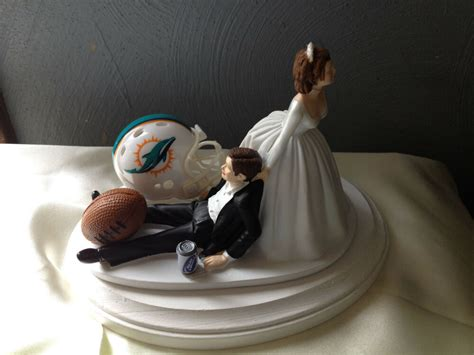 miami dolphins cake topper bride groom wedding day nfl
