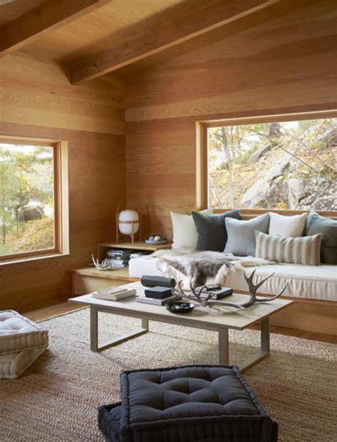 chambre simple un salon à la déco scandinave en bois urgent banquette