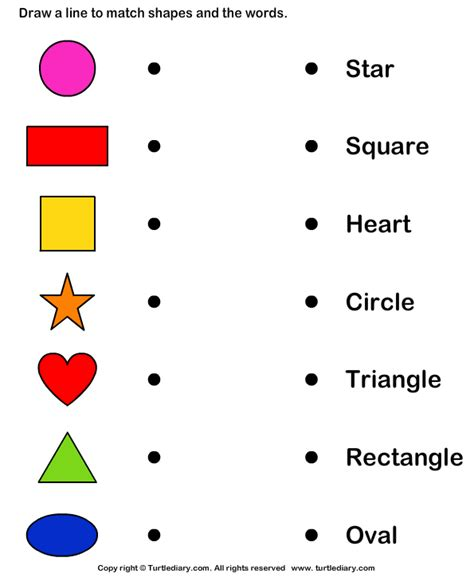 match shapes  names worksheet turtle diary