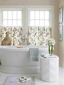 a simple cafe curtain style window treatment can be the With 5 basic bathroom window treatments