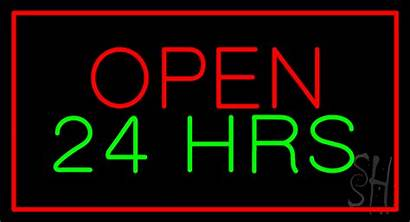Neon Sign Open Animated Hrs Hours Signs