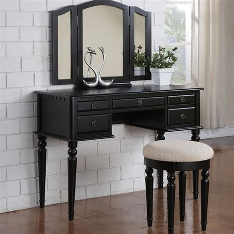 vanity set vintage makeup black mirror desk furniture