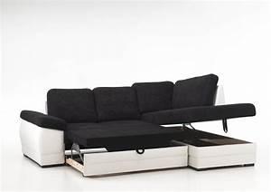 Canape Convertible Noir : photos canap d 39 angle convertible noir et blanc ~ Teatrodelosmanantiales.com Idées de Décoration