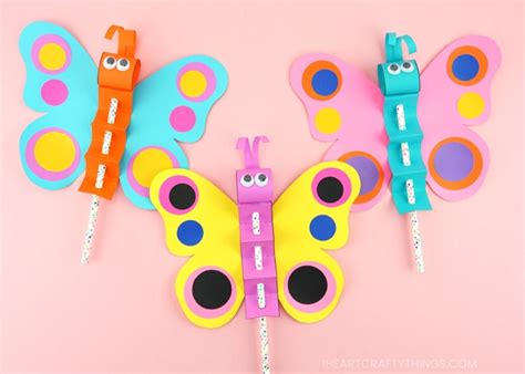 How To Make A Colorful Paper Butterfly Puppet Craft