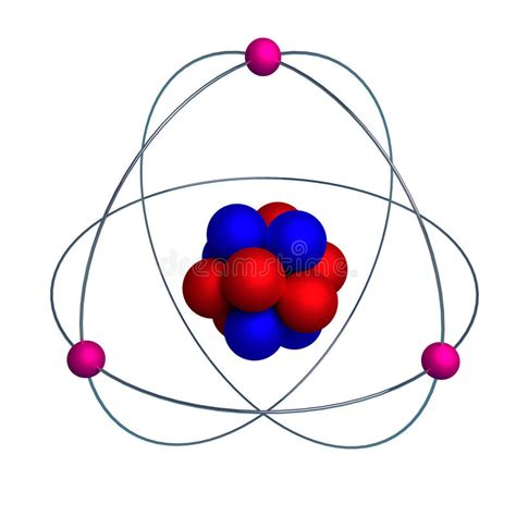 Atom Model With Proton, Neutron And Electron Isolated On