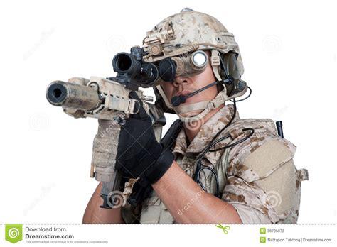 soldier man holding machine gun shoot stock image image