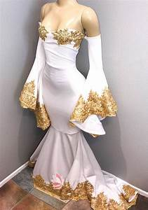 Gold Embroidered Strapless Off-shoulder Bell Sleeve White ...
