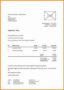 Angebot Rechnung : 5 schriftliches angebot muster lesson templated ~ Themetempest.com Abrechnung