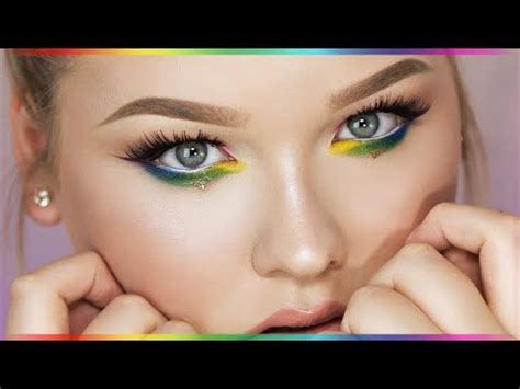 rainbow eyes makeup tutorial youtube
