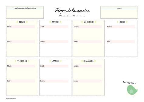Planning des repas hebdomadaires à imprimer en 3 versions. Modèle de menu de la semaine à imprimer.Planning de repas sous forme de semainier vierge ...
