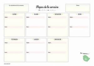 Modele De Menu A Imprimer Gratuit : mod le de menu de la semaine imprimer planning de repas sous forme de semainier vierge ww ~ Melissatoandfro.com Idées de Décoration