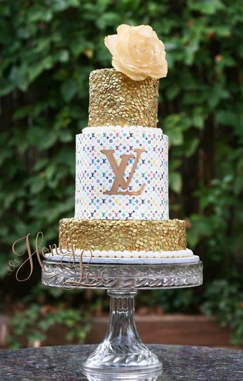colorful louis vuitton inspired birthday cake  gold