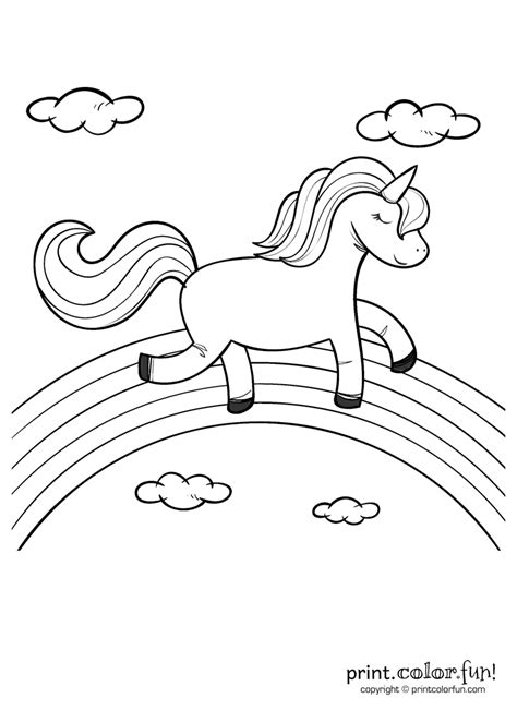 Happy unicorn over the rainbow coloring page Print