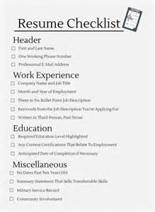 best resume critique checklist resume checklist