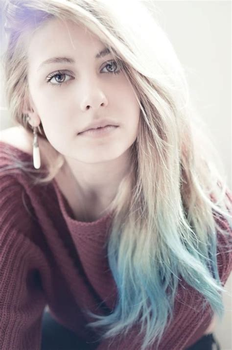 Light Blue Dip Dye On Long Hair Stylish Feminine
