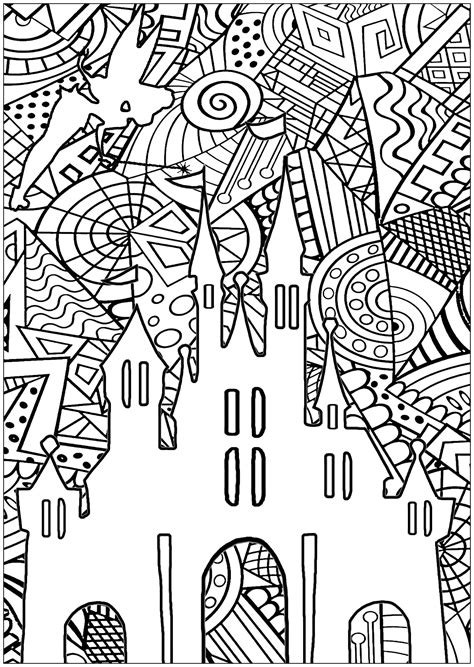 disney castle return  childhood adult coloring pages
