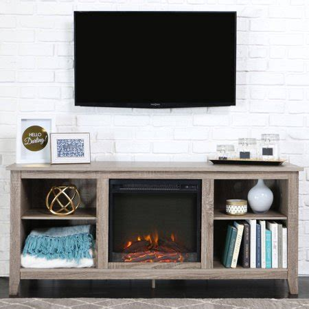 fireplace tv stand walmart walker edison driftwood tv stand with fireplace insert for