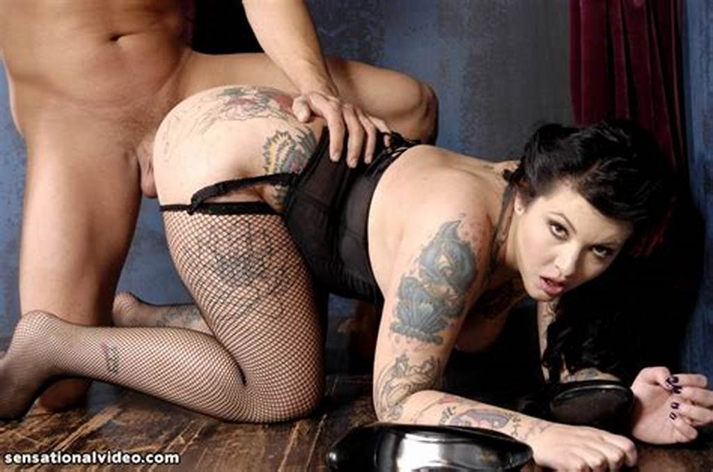 #Tattooed #Brunette #Plumper #In #Black #Corset #And #Stockings