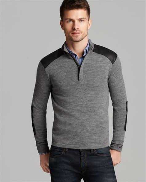 mens half zip sweater michael kors leather trim half zip sweater in gray for