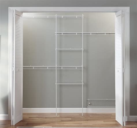 Closetmaid Wood Shelving by Closet Organizer Kit White Color 5 To 8 Closetmaid
