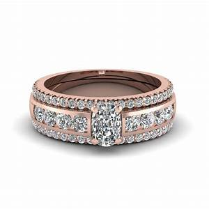 heart bridal trio set with black diamond in 14k white gold With pink gold wedding ring sets