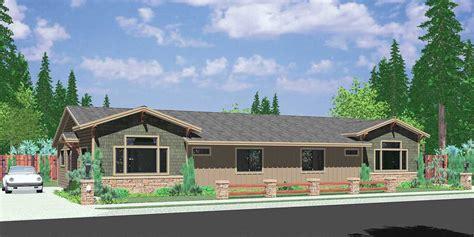 narrow house plan one level duplex house plans corner lot duplex plans