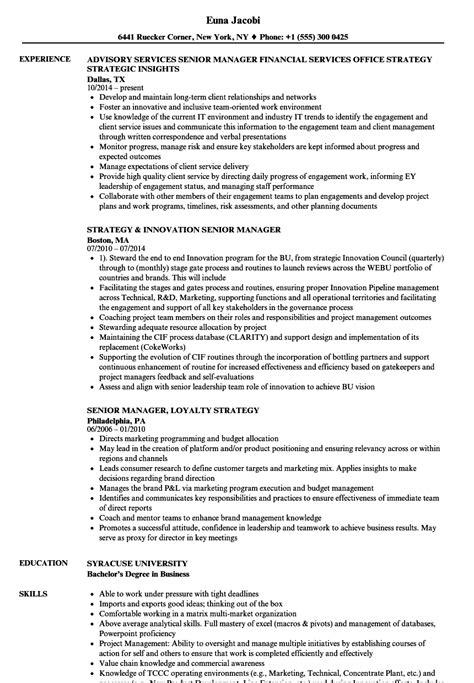 Senior Manager Resume Sle by Sle Resume Of Senior Marketing Manager Senior