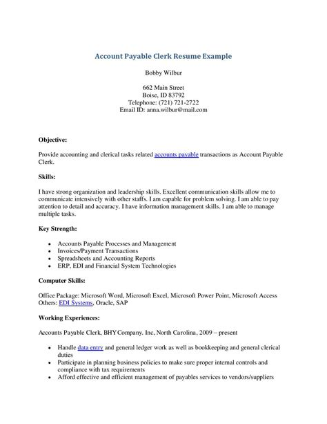 Accounts Payable Cover Letter Sle Accounts Payable Clerk Resume Thevictorianparlor Co