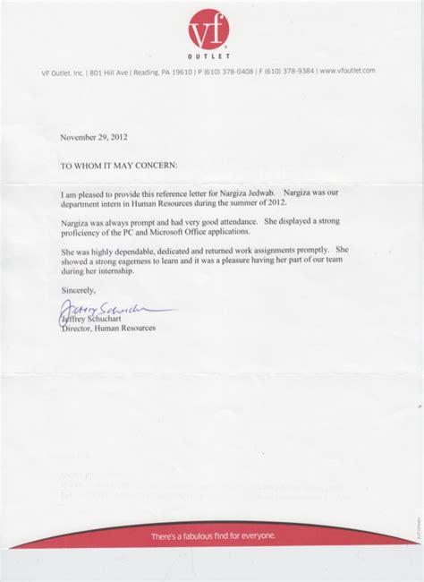 letter to hr reference letter hr vf outlet 30041