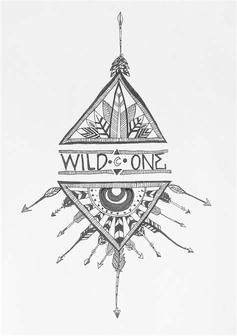 """wild one"" native american geometric arrow tattoo design illustration 