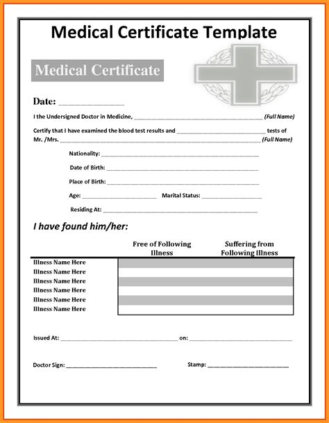 Medical Certificate For Sick Leave Template | Template Medical Certificate Template For Sick Leave Sick Leave