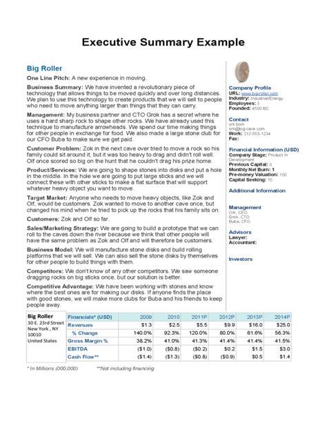 business plan executive summary exles