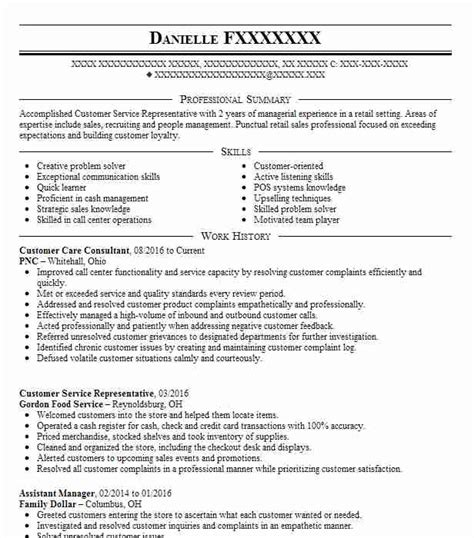 Customer Care Resume by Customer Care Consultant Objectives Resume Objective