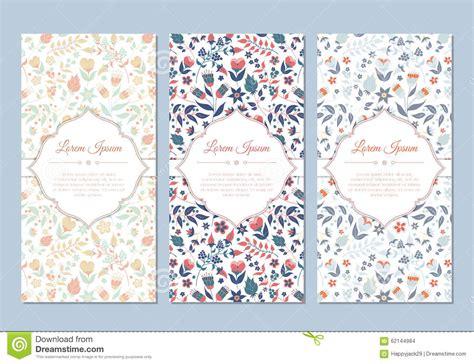 cute vintage doodle floral cards set stock vector image