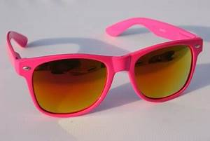 New Neon Pink Way Sunglasses with Fire Mirror Lens 80 s