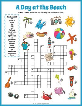 summer crossword puzzle  day   beach  puzzles