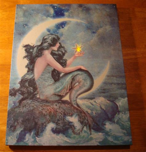 mermaid flicker flame starfish light crescent moon lighted canvas decor sign ebay