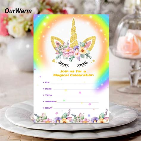 OurWarm Unicorn Invitations Card with Envelopes Unicorn