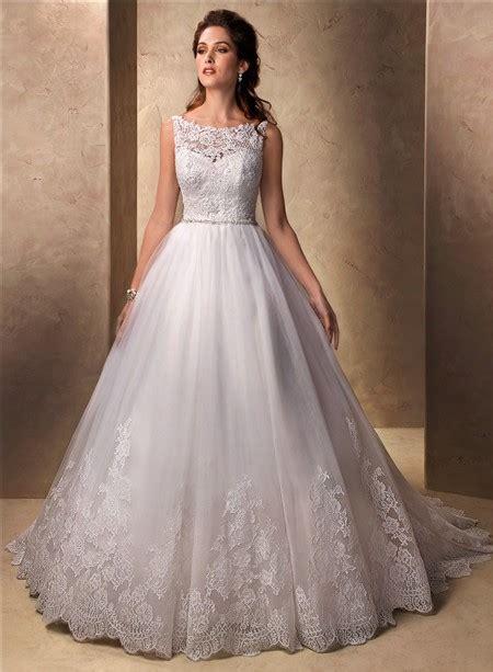 Classic Princess Ball Gown Bateau Neckline Tulle Lace