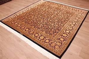 Teppich Schwarz Gold : perserteppich gom seidenteppich 200x200 cm schwarz gold ~ Whattoseeinmadrid.com Haus und Dekorationen
