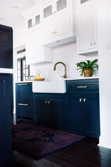 contemporary kitchen  navy blue base cabinets