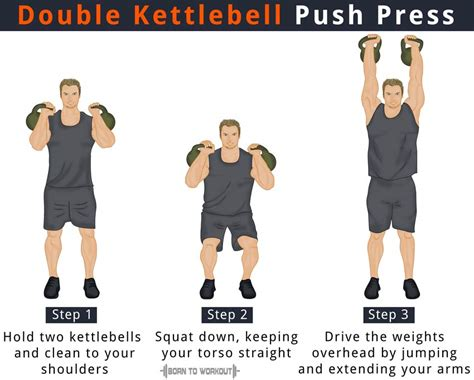 kettlebell press push double benefits workout position borntoworkout
