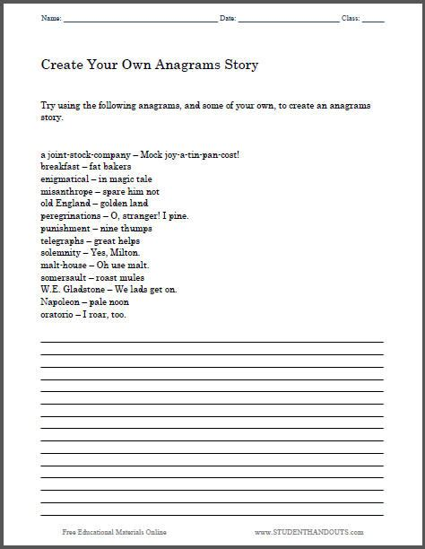 create an anagrams story worksheet student handouts