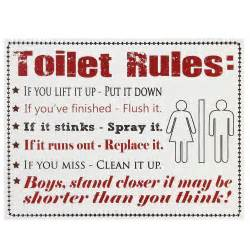 Funny Bathroom Rules Signs