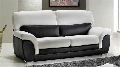 canap 233 3 places en cuir noir et blanc pas cher direct usine