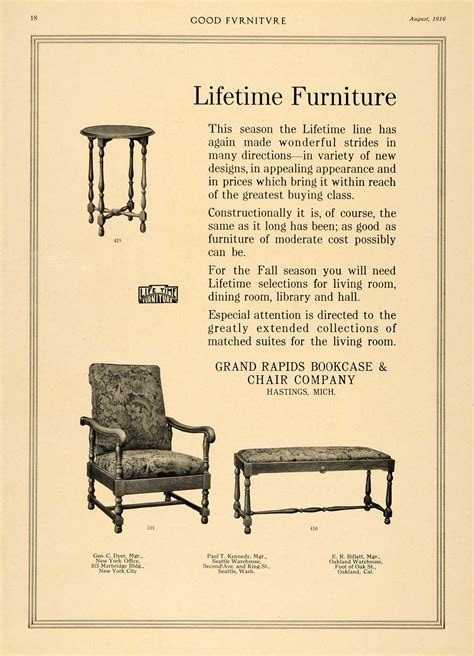 1916 ad furniture bench grand rapids bookcase chair co