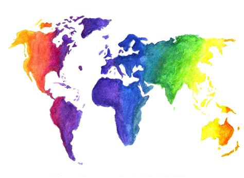 world color watercolor world map print earth in rainbow colors
